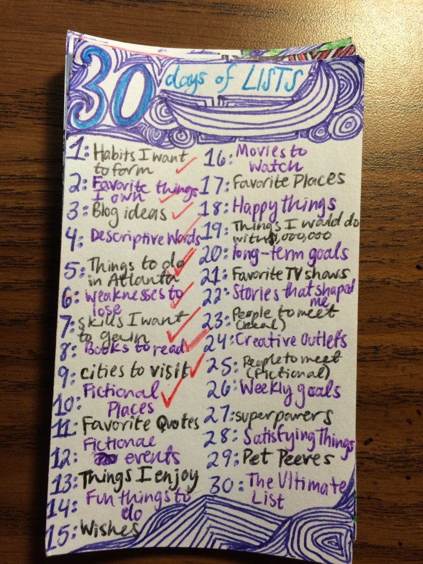 30 Days of Lists: Part 1