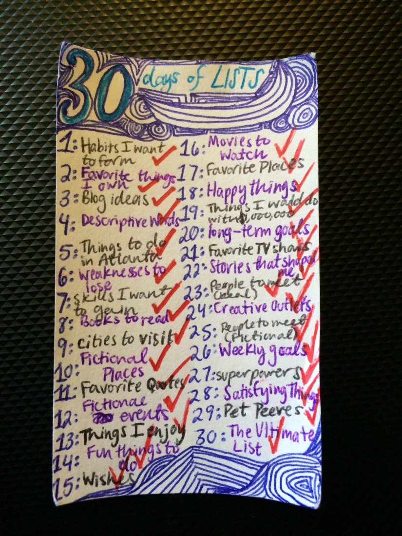 3 Things I learned from 30 Days of Lists